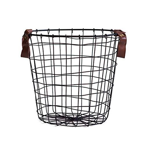 iBaste Aufbewahrungskorb aus Metall Drahtkorb mit Griff Organizer Aufbewahrungsbox für Kleidung Wäschekorb