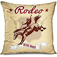 Roman Lin Square Throw Pillow Cover,Zippered Pillowcase,Horse Wild West Retro Rodeo Cowboy Saddle Hat Riding Animals Wildlife Western Boot Show Desert Gun Home Decor,Decorative Cushion Case