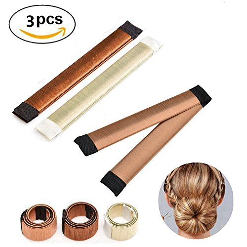 Halicer 3 Stücke Donut Hair Bun Maker, Magic Twist Donut French Band für Damen DIY Hairstyle Tools (Rot, Braun und Gold)