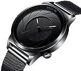 Uhren, Herren Fashion Armbanduhr, Business Design Sport schlichtes Schwarz Analog Quarz mit einzigartige Spirale Zifferblatt und Edelstahl Mesh Band