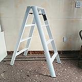 Leiter Four Step Hocker Aluminium Klappkinder 4-Stufen Stuhl Dual Use Portable Home Lager Gewicht 150kg (Farbe : Weiß)