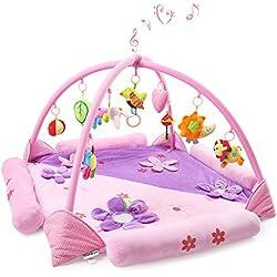 Gran Estera de Juegospara 1-2 Bebés, Safe&Care Alfombra Gimnasio de Actividades con Arcos Cruzados Extraíbles Colgantes Sonajeros y Juguetes de Peluche Manta de Juego para Bebé y Niños Pequeños Rosa