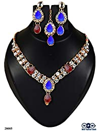 NewFashionWeek Jewellery Blue & Brown Colored Alloy With Moti & Diamond Choker Necklace For Women