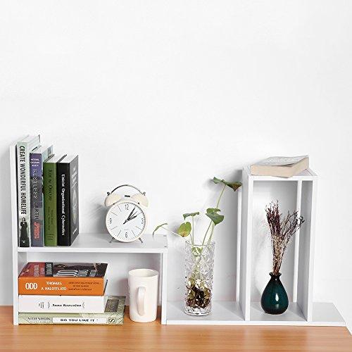 Cocoarm DIY Tisch Desktop Lagerregal Standregal Display Regal Organizer Tischorganizer Schreibtisch Tischregal Bücherregal Aufbewahrungsregal 3 Farbe (Weiß) -