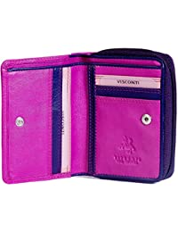 Visconti Ladies Quality Small Compact Multi-Coloured Leather Purse For 5 Credit Cards, Banknotes & Coins - Gift Boxed
