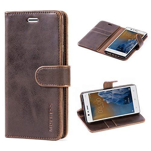 Mulbess Vintage Ledertasche im Ständer Book Case / Kartenfach für Nokia 3 (5,0 Zoll) Tasche Hülle Leder Etui,Vintage Kaffee Braun