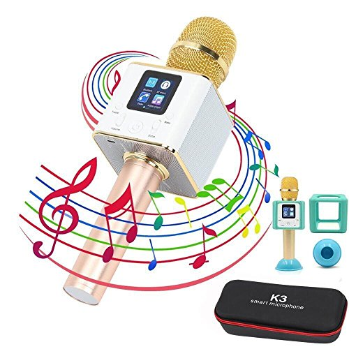 KTV Karaoke Player Mikrofon, YFeel Smart Wireless Tragbar Microphone Lautsprecher Bluetooth für Aufnahme, Gesang, Sprache KTV Karaoke Player Kompatibel mit PC/iPad/iPod/iPhone/Android Smartphone, Gold