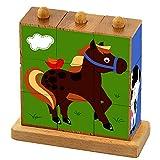 Viga Toys - Bilderwürfel Puzzle - Bauernhoftiere