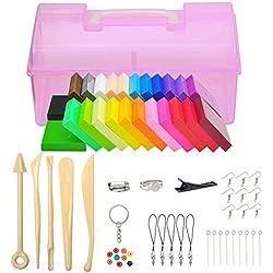 Meerveil Pâte Polymère, DIY Clay Kit, Pâte À Modeler, Inclure Les Outils de Modélisation, L'accessoire, Cadeau pour Les Enfants (24 Couleurs)