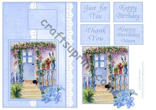 Gatto su un blu portico topper con sentimenti di Pamela West