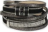 styleBREAKER Vintage Wickelarmband mit Strass, Gliederkette und Magnetverschluss, 3-Reihig, Armband, Damen 05040024, Farbe:Antik-Dunkelgrau/Schwarz