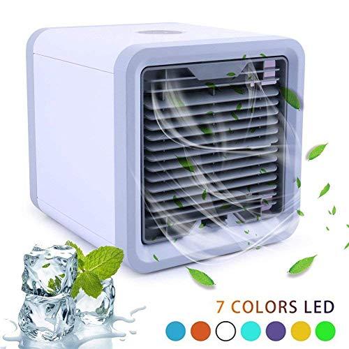 Mobile Klimageräte, Mini Klimaanlage Tragbar Luftkühler USB Air Cooler Conditioner mit Luftbefeuchter & Luftreiniger LoiStu Air Cooler mit Wasserkühlung Zimmer für Büro, Hotel, Garage, 3 Kühlstufen (Weiß)