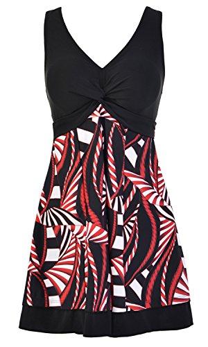 Ecupper Damen Badekleid Gepolstert Badeanzug mit Shorts Einteiler Blumen Muster Schwimmkleid Große Größen Schwarz 5XL