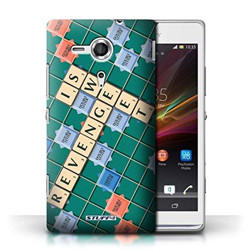 Kobalt® Imprimé Etui / Coque pour Sony Xperia SP/C5303 / Aucun Douleur Gain conception / Série Mots de Scrabble Douce Vengeance