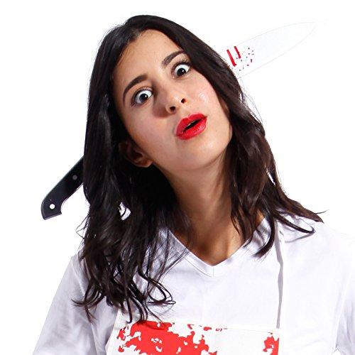 Coltello insanguinato con cerchietto copricapo attraverso la testa sangue horror halloween
