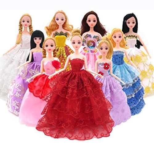 verkleiden sich Kleidung für Barbies, AmaMary 10PC / Set Barbie dress up Kleidung viel billige Puppe Zubehör handgemachte Kleidung passend für 29cm / 11.5