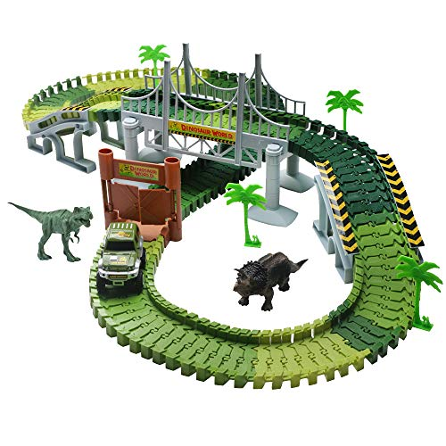 TONZE Circuit Dinosaure Enfant Jeux Circuit Voiture Jouet Circuit Flexible avec Dinosaure Accessoires Jouet Circuit pour Enfant Cadeau Garcon Fille 3 4 5 6 Ans (Circuit) (Circuit)