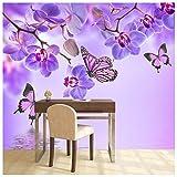 azutura Lila Blume Fototapete Blumenschmetterling Tapete Mädchen Schlafzimmer Dekor Erhältlich in 8 Größen Riesig Digital