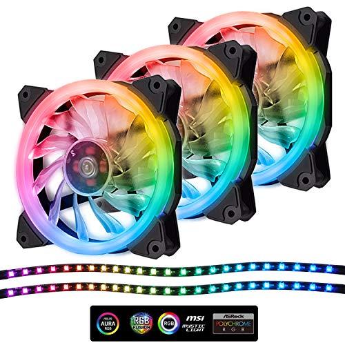 EZDIY-FAB Ventola LED RGB indirizzabile PWM da 120mm, con Strisce LED, sincronizzazione Scheda Madre, ventole Colorate Regolabili per Case con Controller 3Pack