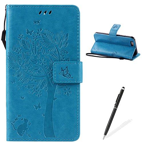 Apple iPhone 6/6S 4.7 Custodia, Feeltech Sbalzato Albero Gatto Farfalla Modello Fiore Progettazione [Stylus Pen] Per il coperchio Apple iPhone 6/6S 4.7 Case, Elegante Cuoio dellunità di Elaborazione  Blu