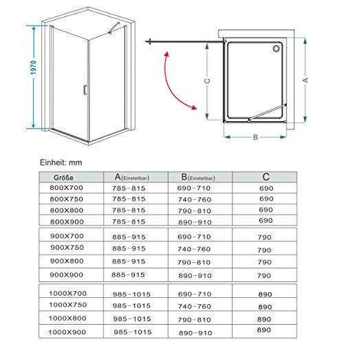 Duschkabine mit 180 Grad Schwingtür, 90 x 75 (Seitenwand) x 195cm im Vergleich - 4