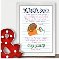 Personalised Teaching Assistant Thank You Gifts for TA Nursery Teacher Gifts - Thank You Gifts for Teachers, Teaching Assistants, TA, Nursery Teachers - ANY RECIPIENT from ANY NAME - A5, A4, A3 Prints and Frames - 18mm Wooden Blocks - FREE Personalisation