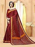 Ankit Fashions Maroon South Silk Brasso Printed Saree