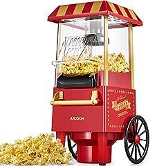Idea Regalo - Macchina per Pop Corn, Aicook 1200W Retro Macchina Popcorn Compatta ad aria calda senza grassi, Operazione con Un Pulsante, Rosso