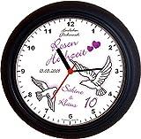 Lucky Clocks TAUBEN ZUM 10. Hochzeitstag ROSENHOCHZEIT lila Wanduhren für jeden Anlass mit jeder Beschriftung und jedem Vornamen Namen erhältlich