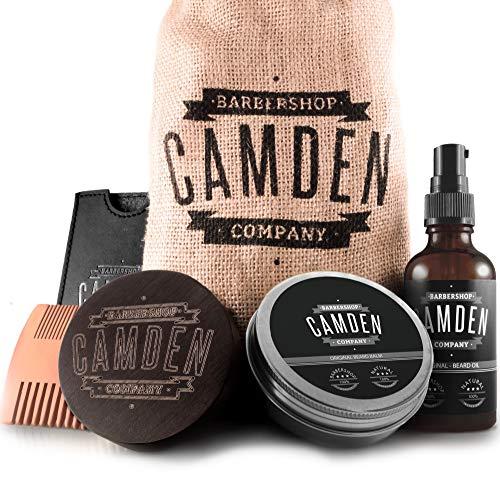 Camden Barbershop Company: Deluxe Bartpflege-Set inkl. Bart-Öl, Bartwachs, Bartbürste & Bartkamm ● 100% Natürlich ● Geschenk-Set für Männer