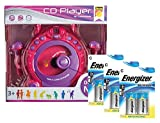 Idena 10111142B - Kinder CD Player Sing along mit 2 Mikrofonen und LED Display inklusiv Energizer Advanced Batterien, rosa