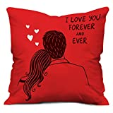 #9: Valentine Gifts for Boyfriend Girlfriend Love Printed Cushion 12X12 Filled Pillow Red I Love U Forever Perfect Gift for Him Her Soulmate