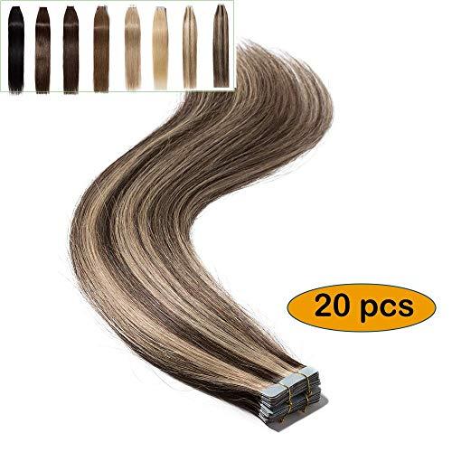 Extension capelli veri adesive 35cm con tape biadesivo #4/27 cioccolato mix biondo scuro - 20 fasce/set 100% remy human hair extensions biadesive lisci naturali 40g larga 4cm