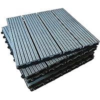 Azulejos compuestos para terrazas – La famosa cubierta de clic – Ebony & Teak Teak patio, balcón, terraza de techo, azulejos para pisos, gris