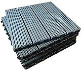 Click-Deck Bodenfliesen, Ebenholz & Teak, für Terrassen, Balkon, Dachterrasse, Whirlpool-Fliesen, grau