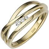 JOBO Damen Ring breit 585 Gold Gelbgold 3 Diamanten Brillanten 0,08ct. Goldring Größe 54