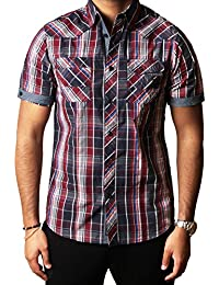 Hommes chemise Dissident Designer Manche courte 100% coton Check Casual S-XXL GARRIX