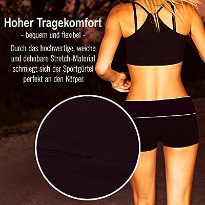 Laufgürtel mit Reißverschlusstasche für Handy Geld Schlüssel Smartphone - reflektierend - Jogging Fitness Sport-Bauchtasche Gürtel-Tasche Hüfttasche Fanny Pack Body Bag Hipbag Lauftasche Lauf-Gurt