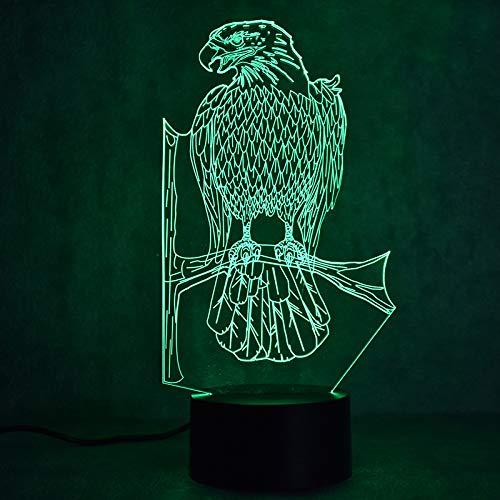 YDBDB Nachtlicht 3d usb led bunte tischlampe visuelle nacht baby schlaf lampe tier adler leuchte dekor geschenke - Adler-raum-dekor