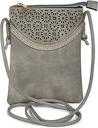 445066ccbcd35 styleBREAKER Minibag Umhängetasche mit Blumen Cutout Muster und Nieten