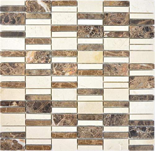 Marmor Mosaik Stein emperador dark cremarfil Wand Boden Küche Dusche Bad Fliesenspiegel|88-1201 f|10 Mosaikmatten -