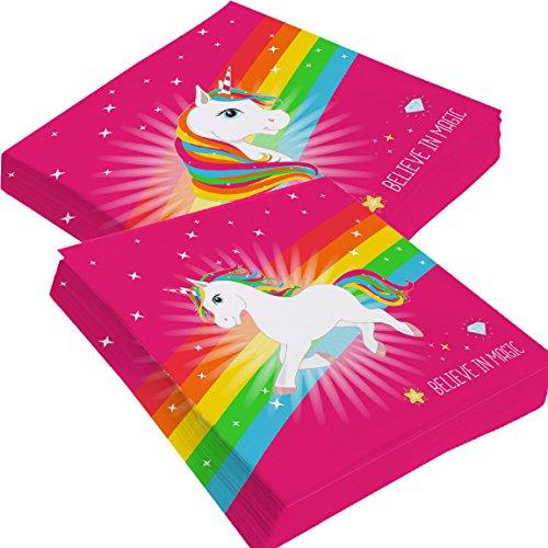 Bada Bing 2er Set Servietten Einhorn Pink Regenbogen Stern 2fach sortiert Neu Magic