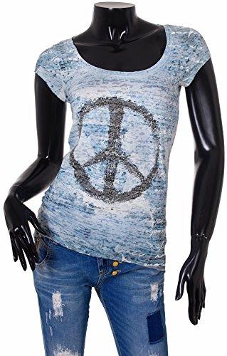 Key Largo Damen T-Shirt Harmony Shirt mit Peacezeichen Oberteil U Ausschnitt Vintage Look mit Strasssteinen Blau