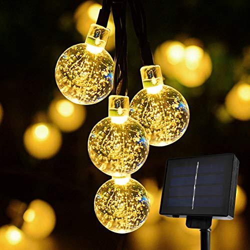 pard 6M 30LED Solar Garten Lichterkette Kristall Kugeln Garten Licht für Garten, Bäume, Terrasse, Weihnachten, Hochzeiten, Partys, Innen und außen (Warmweiß) ()