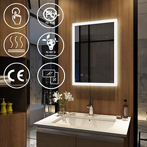 EMKE Badspiegel mit Beleuchtung 50x70x4,5cm mit Touch-Schalter und Beschlagfrei, Badezimmerspiegel Wandspiegel LED Badspiegel Kaltweiß Energieklasse A Modell 3