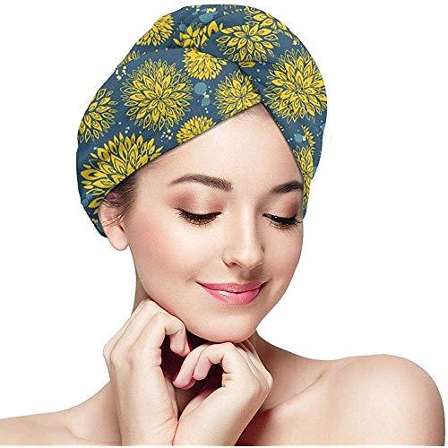 Archiba Hair Dry Fantasy Floral Nahtlose Hintergrund 2733 Köpfe Haar Handtuch Turban Large Wrap Turban Cap Hair Drying