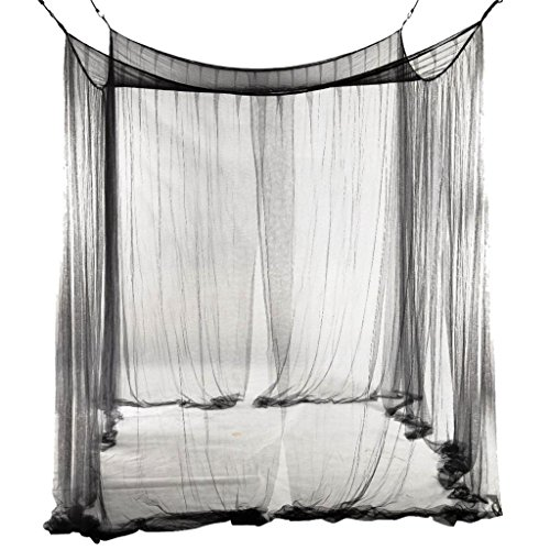 Ajusen Bett Mosquito Net Four Corner Post Bett Schwarz King Size Bett Netting - Schwarz Netting-bett