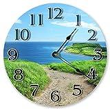 Mari57llis 15' Classic Wood Clock, Non Ticking Clock Vintage Sand Path in Grass to Beach Clock Wooden Decorative Round Wall Clock