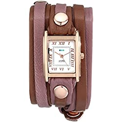 La Mer Collections Damen LMLWMIX004 Cognac Rose Gold Mix Layer Bracelet Wrap Armbanduhr
