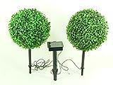 LED Solar Leuchten Set Buchs 2 x 10 LED warmweiß Solarleuchte Dekoration Gartenbeleuchtung Gartendekoration